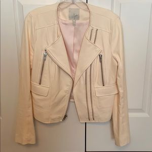 Joie leather motor jacket in blush/pink